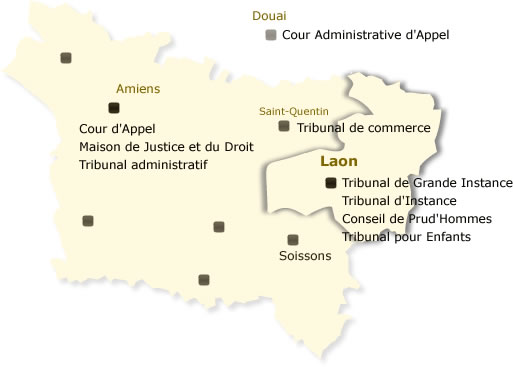 Barreau de Laon: carte des juridictions